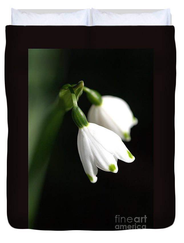 Flora Duvet Cover featuring the photograph Snowdrop Duo by Joy Watson