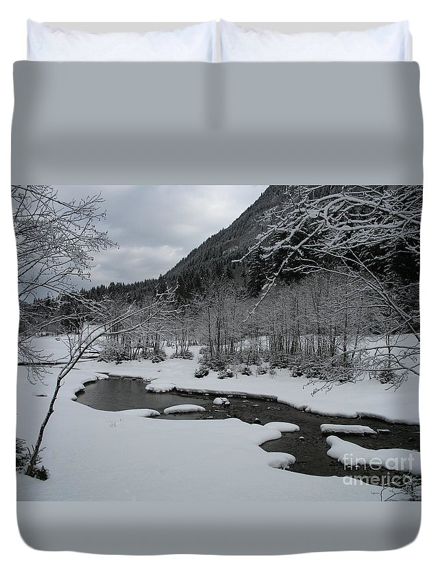 Creek Duvet Cover featuring the photograph Snowed Under Valley by Christiane Schulze Art And Photography