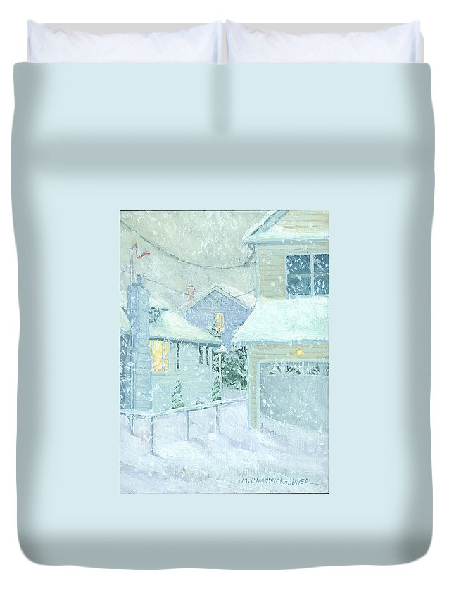 Snowy Scene Duvet Cover featuring the painting Snowfall by Marguerite Chadwick-Juner