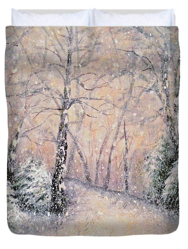 Snow Landscape Duvet Cover featuring the painting Snowflakes by Natalie Holland