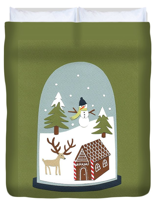 Snow Globe Duvet Cover featuring the painting Snowglobe by Isobel Barber