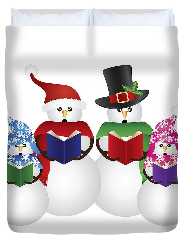 Snowman Duvet Cover featuring the photograph Snowman Christmas Carolers Illustration by Jit Lim