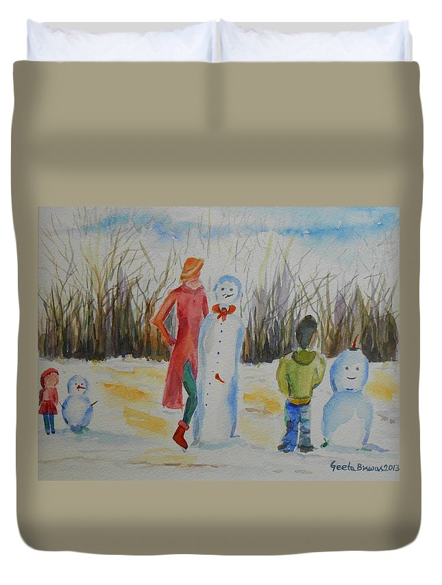 Snowman Duvet Cover featuring the painting Snowman Competition by Geeta Biswas