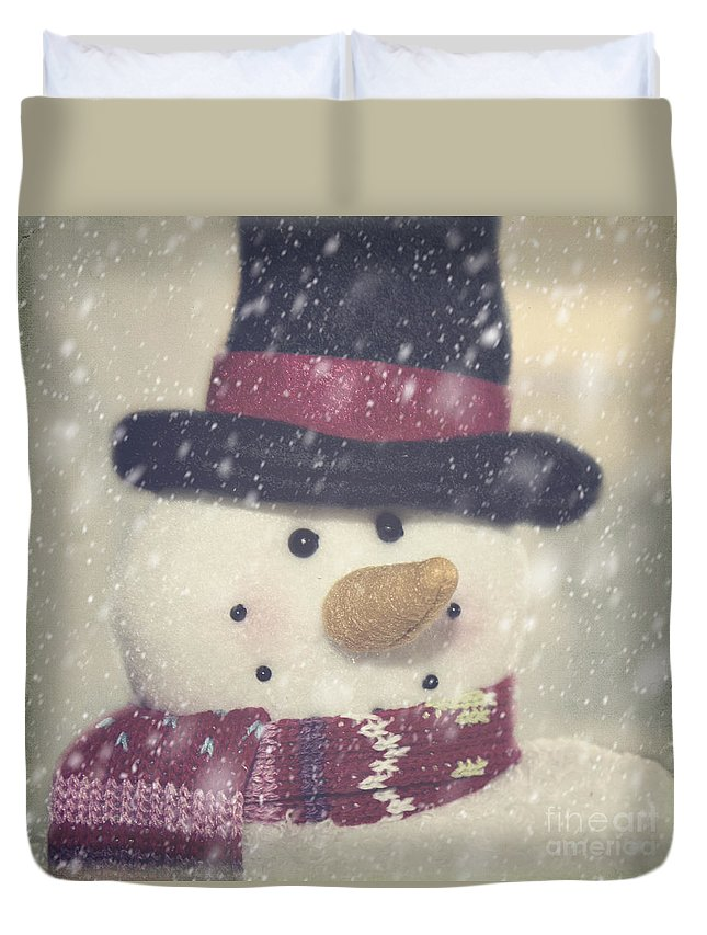 Snowman Duvet Cover featuring the photograph Snowman by Pam Holdsworth