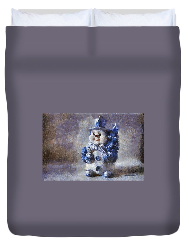 Winter Duvet Cover featuring the photograph Snowman Photo Art 02 by Thomas Woolworth