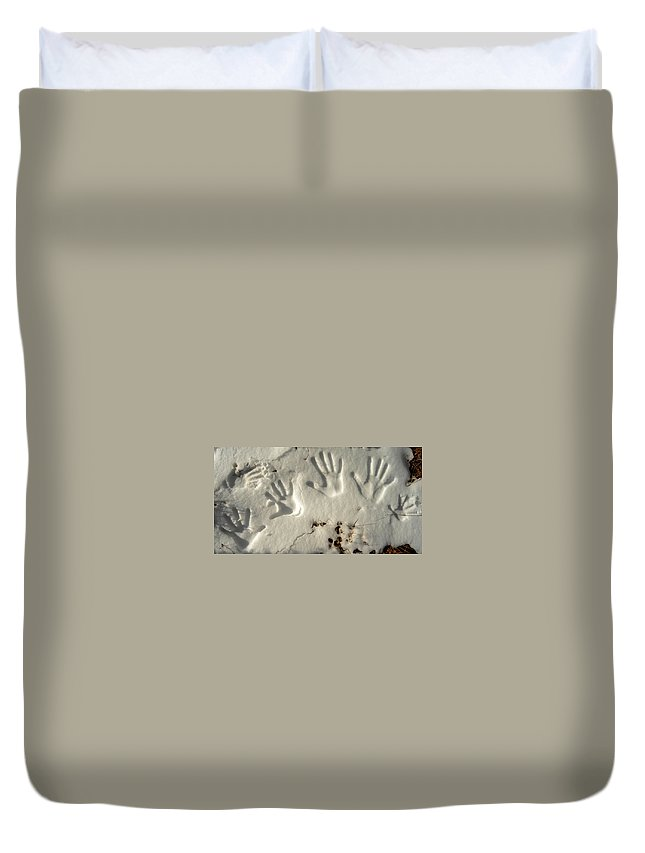 Duvet Cover featuring the photograph Snowprints by Alistair Lyne