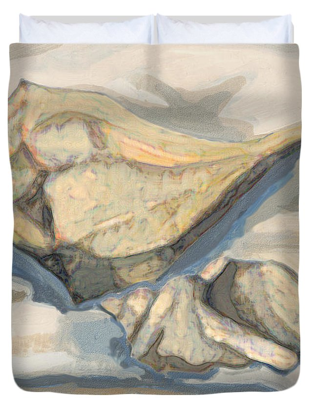 Snow Duvet Cover featuring the painting Snowshell by Richard Glen Smith