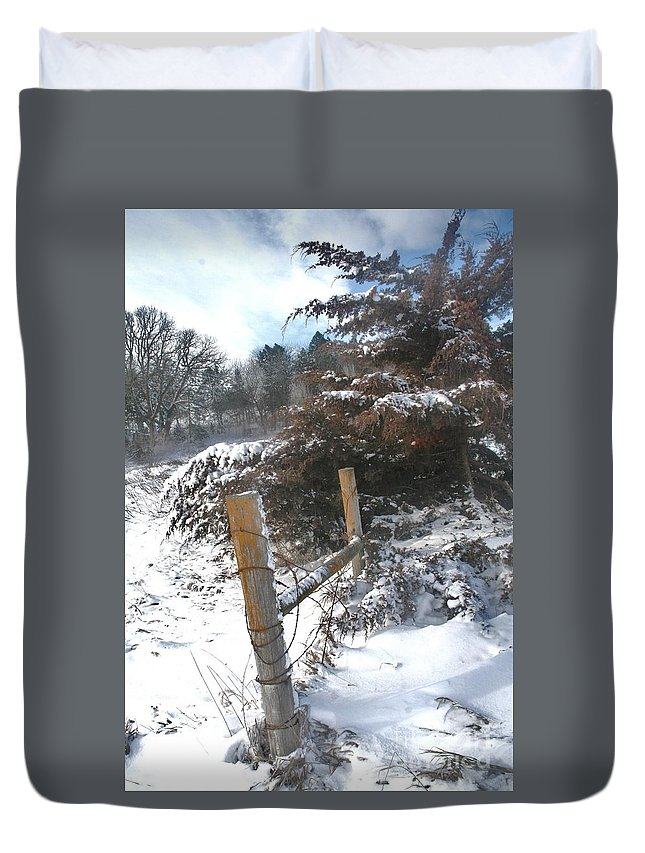 Duvet Cover featuring the photograph Snowstorm The Day After by PainterArtist FIN