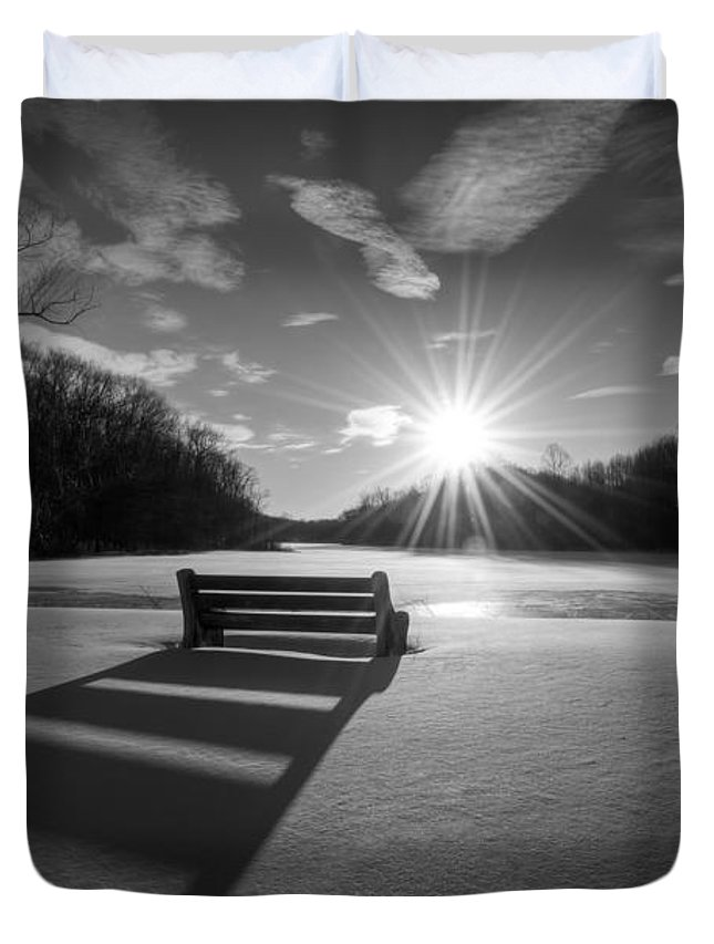 Michael Ver Sprill Duvet Cover featuring the photograph Snowy Bench Bw by Michael Ver Sprill