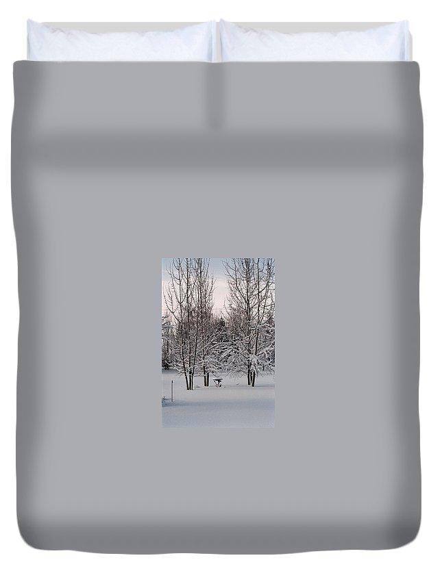 Winter Duvet Cover featuring the photograph Snowy Bird Bath by Mike Wheeler