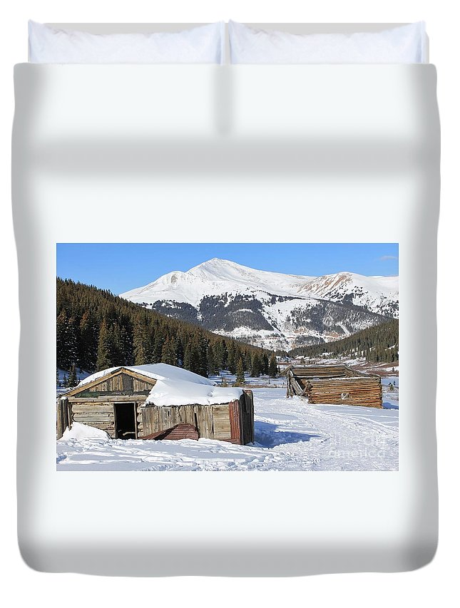 Nature Duvet Cover featuring the photograph Snowy Cabins by Tonya Hance