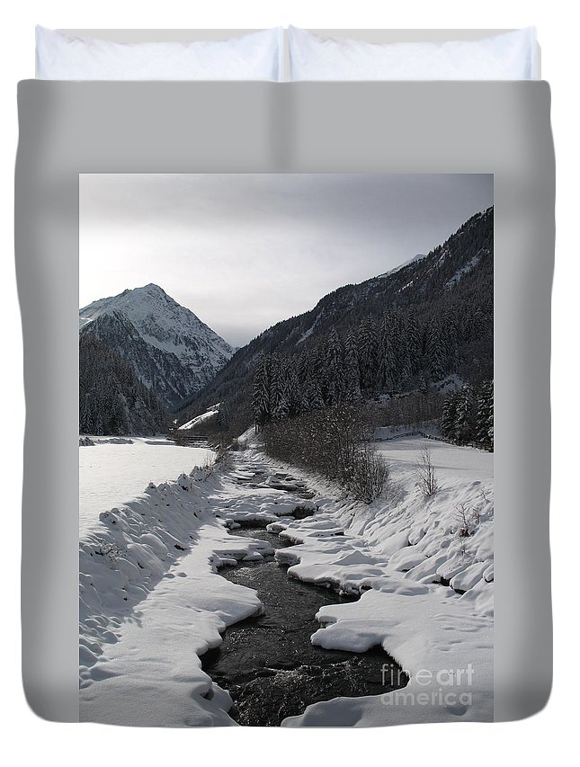 Creek Duvet Cover featuring the photograph Snowy Creek by Christiane Schulze Art And Photography