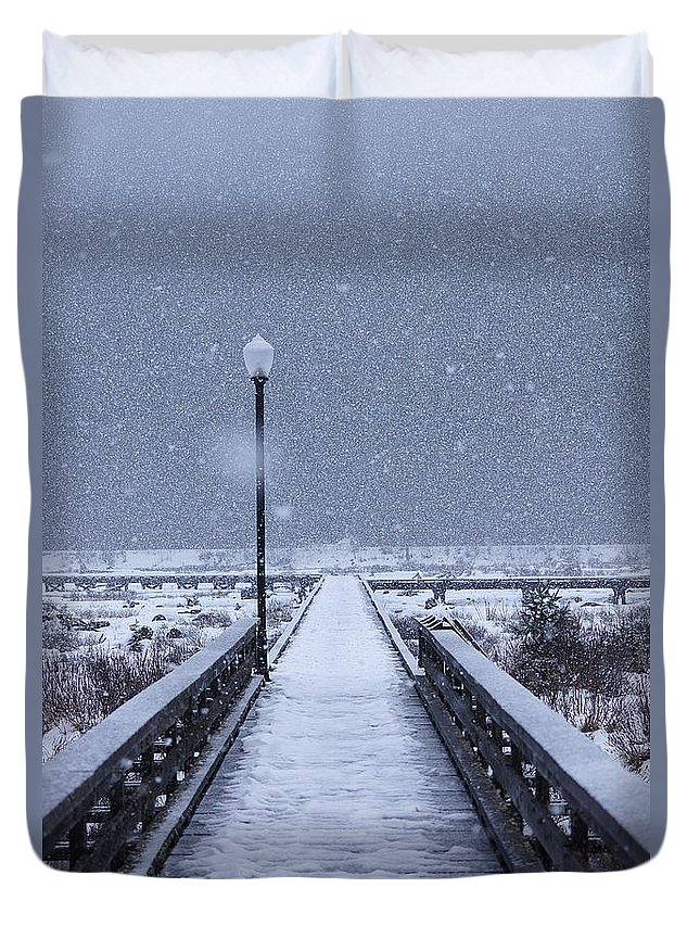Northwest British Columbia Duvet Cover featuring the photograph Snowy Day On The Boardwalk by Stanza Widen