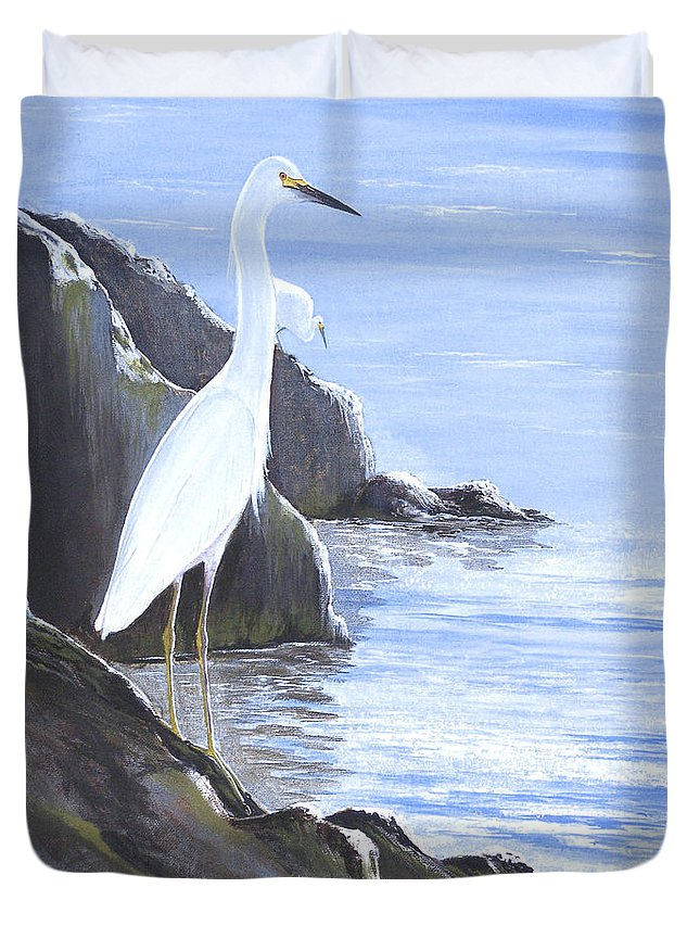 Florida Duvet Cover featuring the painting Snowy Egret by Bill Holkham