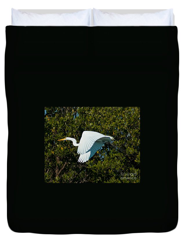 Snowy Egret Duvet Cover featuring the photograph Snowy Egret In Flight by Stephen Whalen