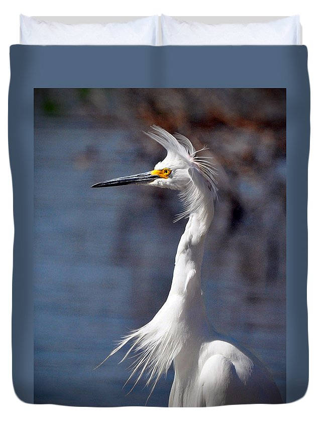 Egret Duvet Cover featuring the photograph Snowy Egret by Savannah Gibbs