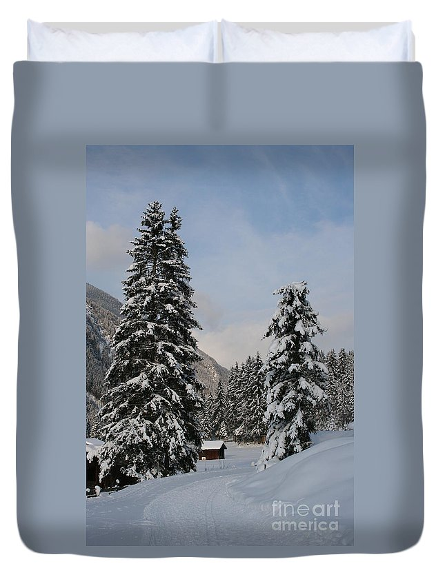 Snow Duvet Cover featuring the photograph Snowy Fir Trees by Christiane Schulze Art And Photography