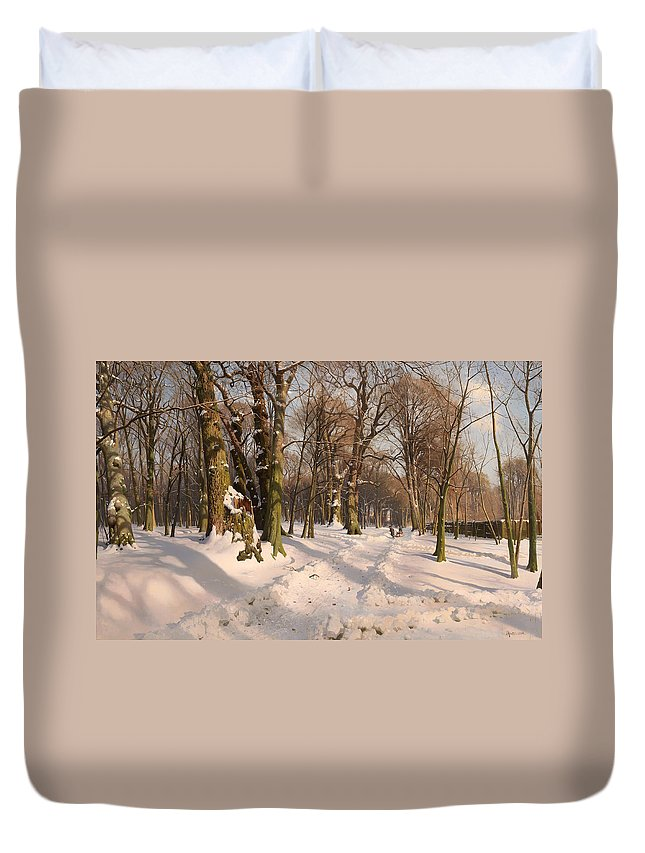 Landscape Duvet Cover featuring the painting Snowy Forest Road 1908 by Mountain Dreams