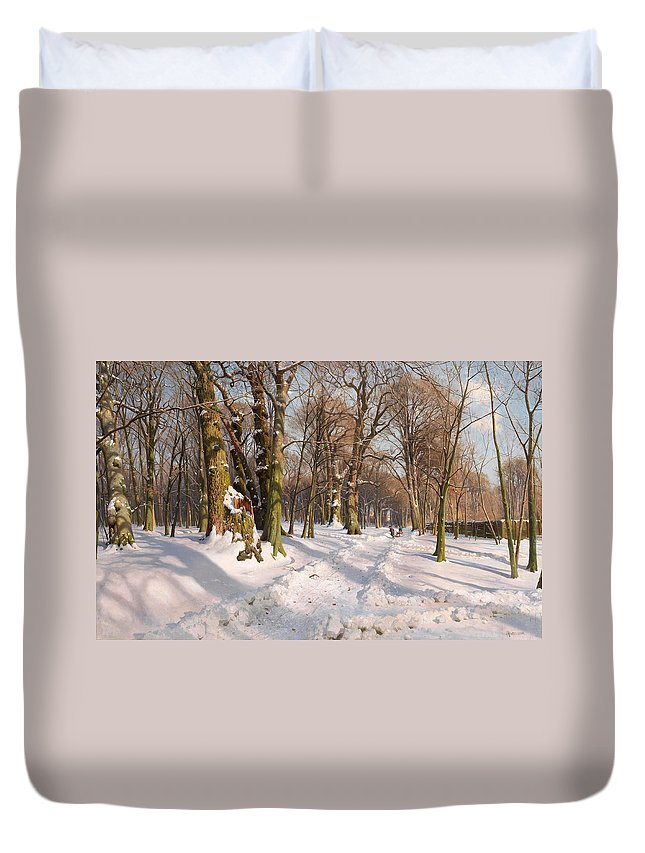 Peder Mork Monsted Duvet Cover featuring the painting Snowy Forest Road In Sunlight by Peder Mork Monsted