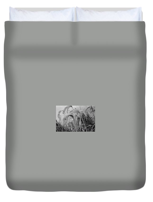 Snow Duvet Cover featuring the photograph Snowy Grass by Mike Wheeler