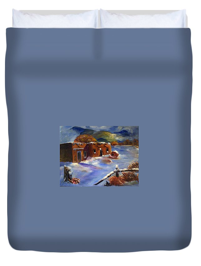 Snow Duvet Cover featuring the painting Snowy Morning by Sue Stake