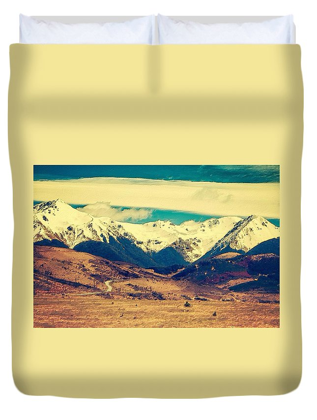 Mountain Duvet Cover featuring the painting Snowy Mountains by Florian Rodarte
