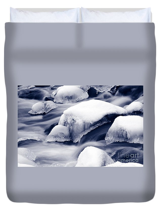 Winter Duvet Cover featuring the photograph Snowy Rocks by Liz Leyden