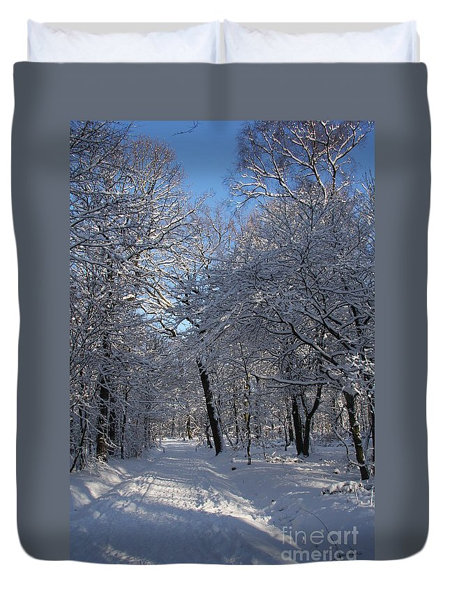 Forest Duvet Cover featuring the photograph Snowy Trail by Christiane Schulze Art And Photography