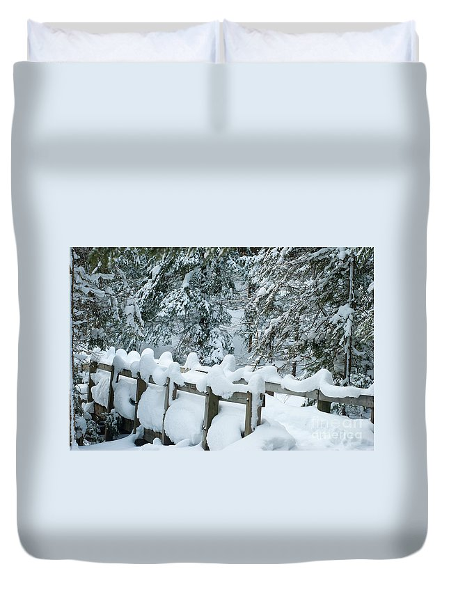 Wagner Falls Duvet Cover featuring the photograph Snowy Wagner's Bridge by Optical Playground By MP Ray
