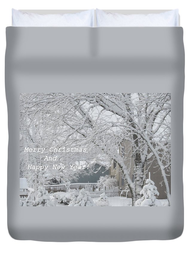 Snowy White Christmas Card Duvet Cover for Sale by Kay Novy