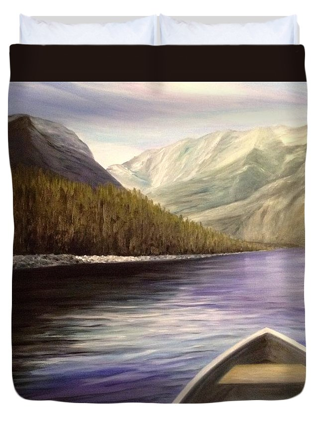 Rocky Mountains Duvet Cover featuring the painting So Peaceful by Donna Muller