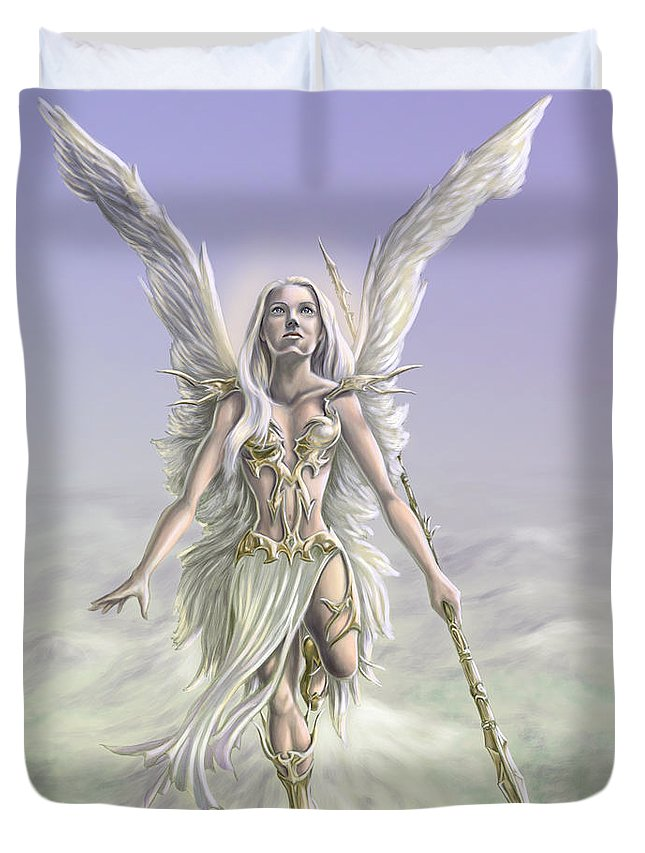 Angel Duvet Cover featuring the digital art Soaring Angel by Rob Carlos