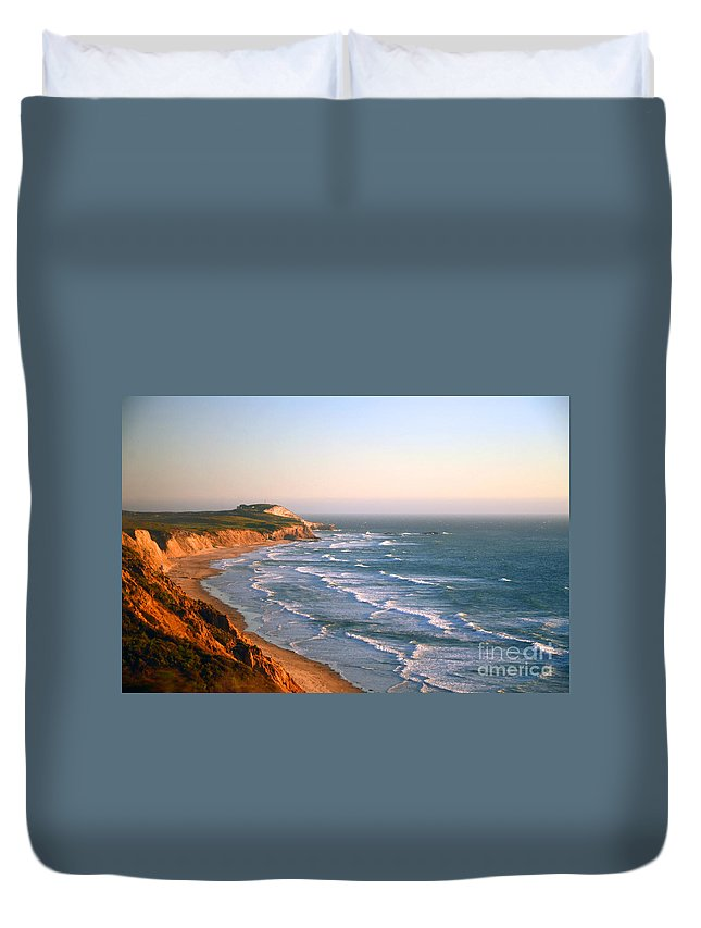 Pacific Duvet Cover featuring the photograph Socal Coastline Sunset by Clayton Bruster