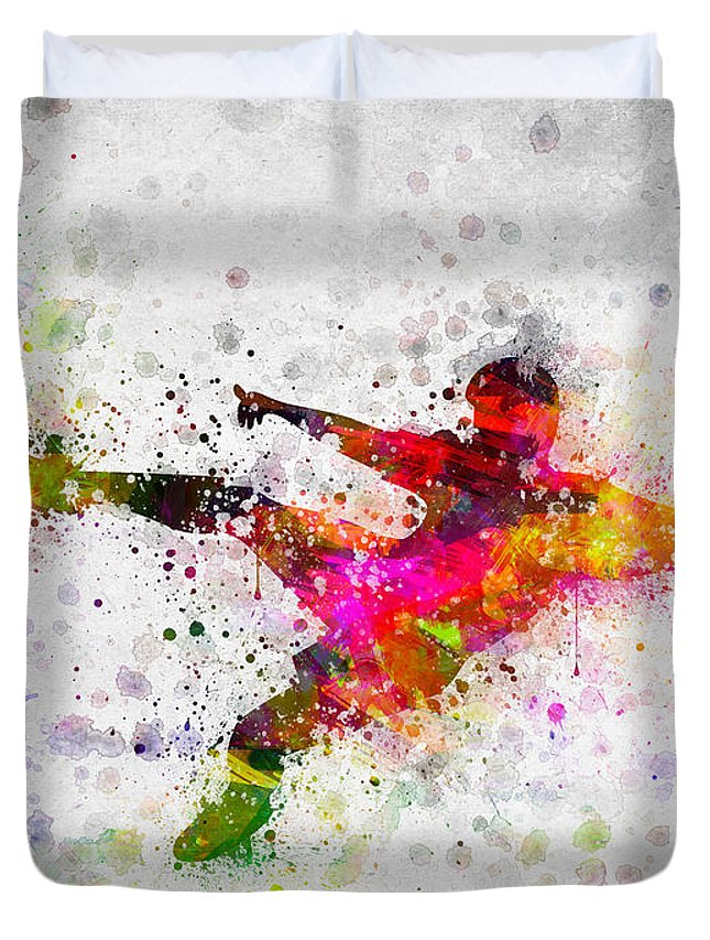 Soccer Duvet Cover featuring the digital art Soccer Player - Flying Kick by Aged Pixel