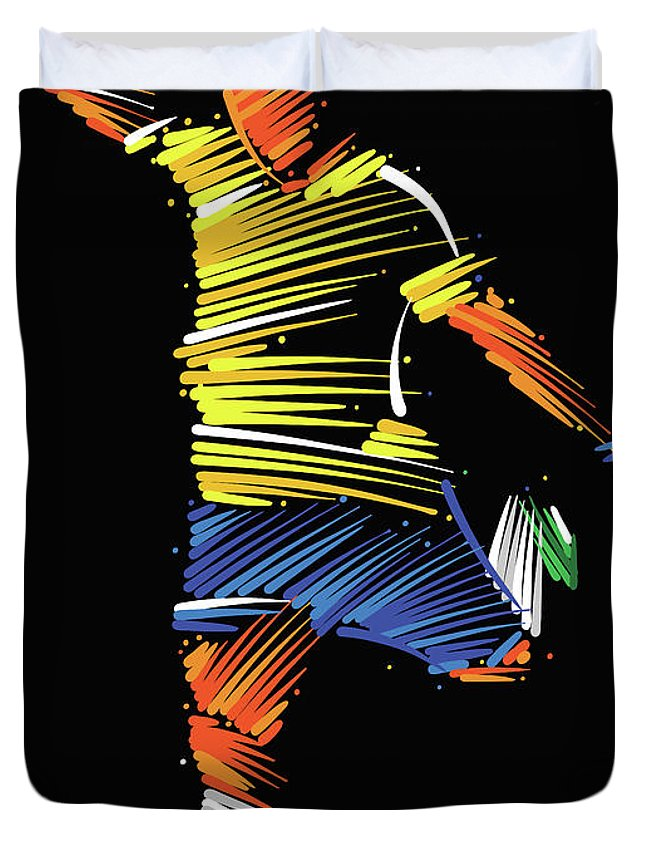 Goal Duvet Cover featuring the digital art Soccer Player Running To Kick The Ball by Dimitrius Ramos