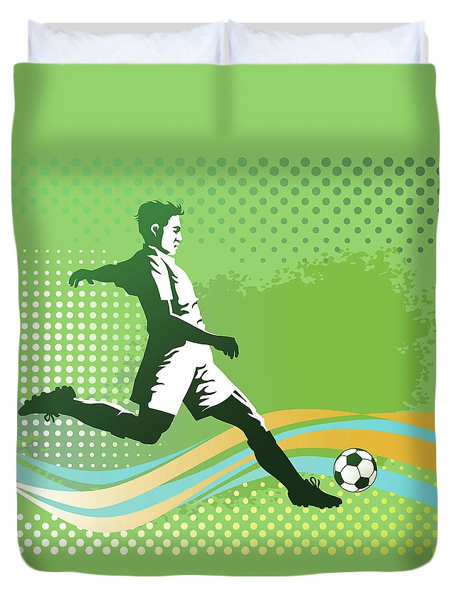Event Duvet Cover featuring the digital art Soccer Player With Ball On Green by Vasjakoman