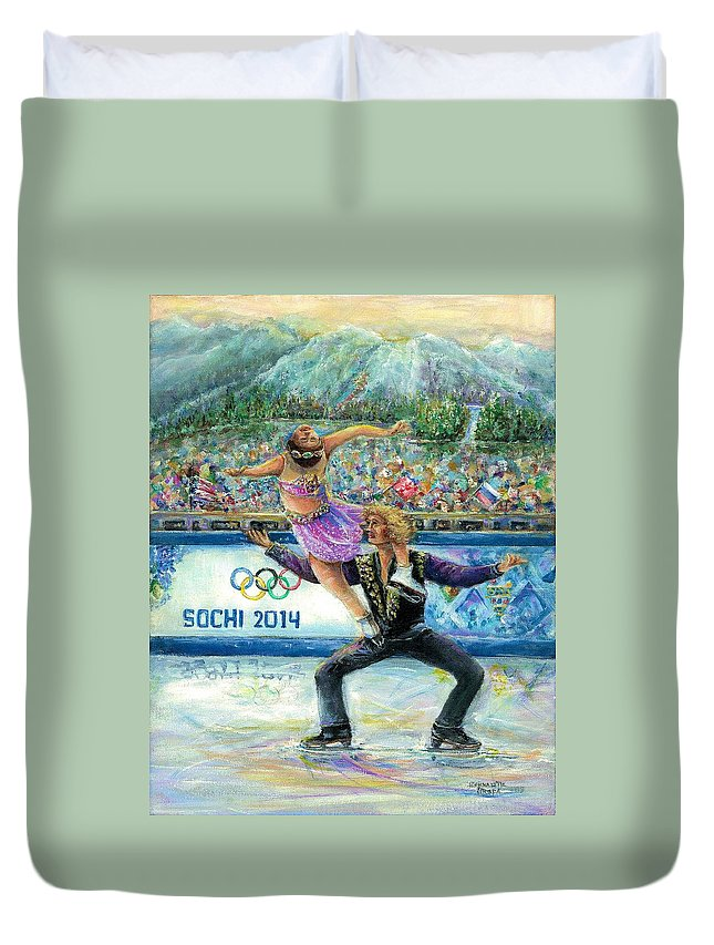 Sochi Duvet Cover featuring the painting Sochi 2014 - Ice Dancing by Bernadette Krupa