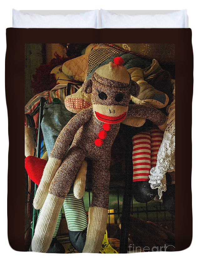 Sock Monkey Duvet Cover featuring the photograph Sock Monkey by Tikvah's Hope