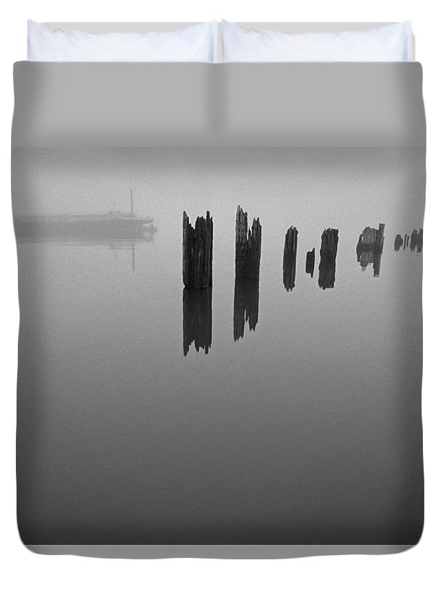 Columbia River Duvet Cover featuring the photograph Socked In - High by Dun Photo