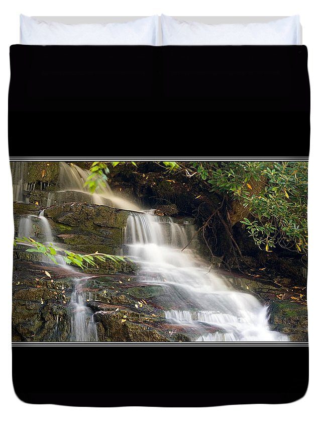 Waterfall Duvet Cover featuring the photograph Soco Falls Small Cascade North Carolina by Charles Beeler