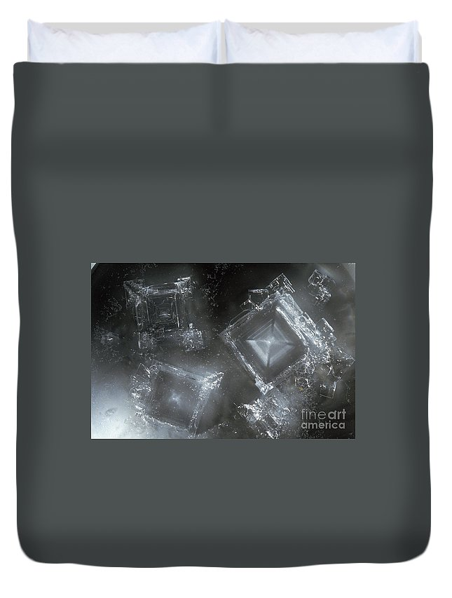 Sodium Hydroxide Duvet Cover featuring the photograph Sodium Hydroxide Crystals by Charles D Winters