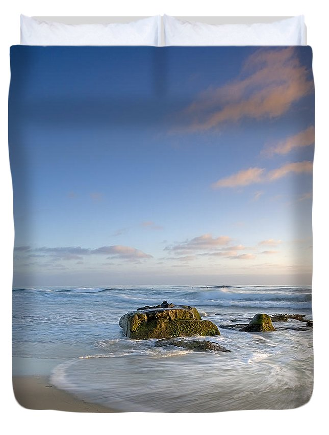 La Jolla Duvet Cover featuring the photograph Soft Blue Skies by Peter Tellone