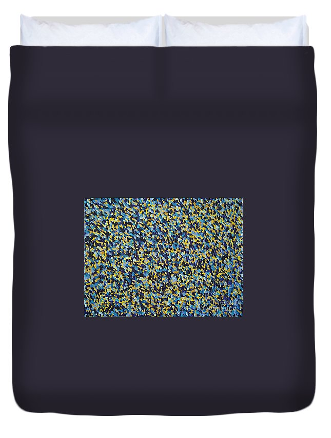Abstract Duvet Cover featuring the painting Soft Blue With Yellow by Dean Triolo