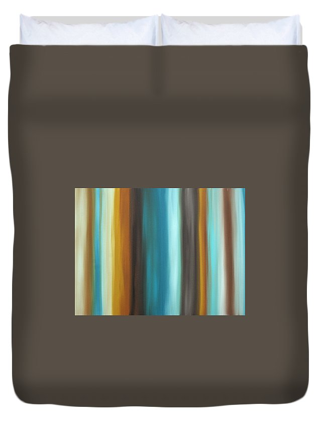 Colorful Duvet Cover featuring the painting Soft Chocolate By Madart by Megan Duncanson