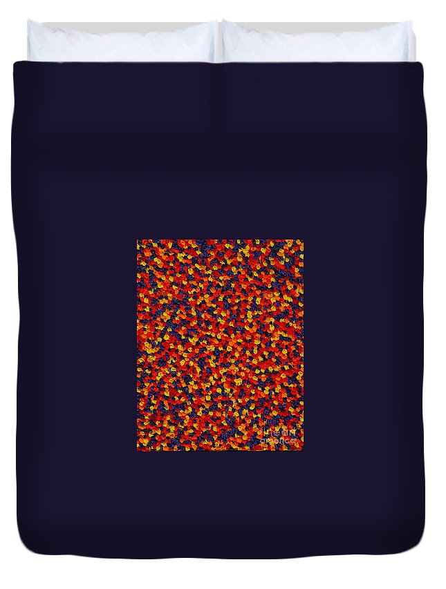 Abstract Duvet Cover featuring the painting Soft Primary by Dean Triolo