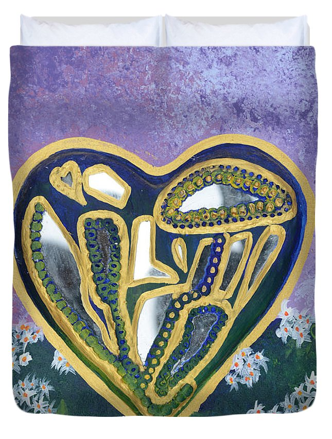 Softened Heart Duvet Cover featuring the painting Softened Heart Best Reflections Energy Collection by Catt Kyriacou