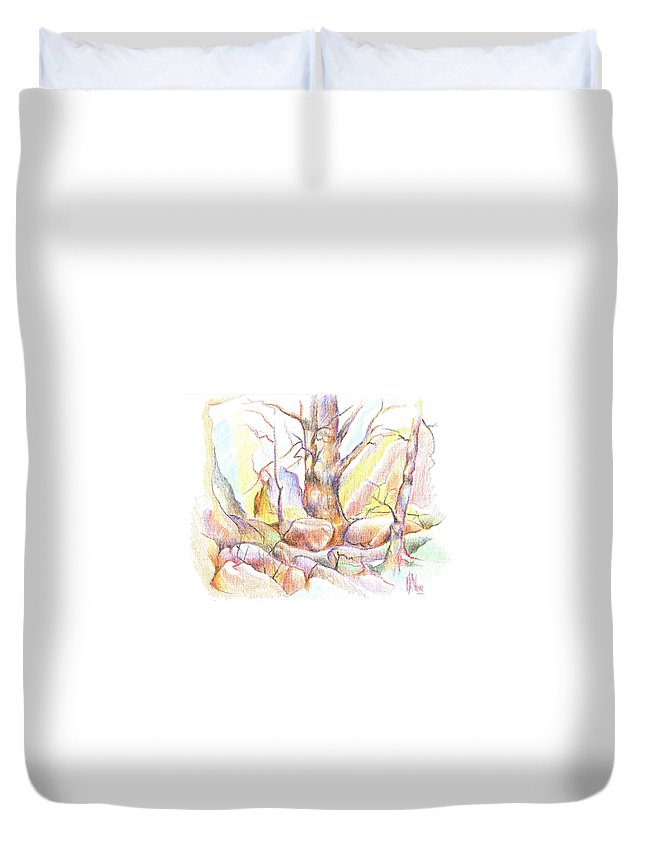 Softly Speaking Duvet Cover featuring the painting Softly Speaking by Kip DeVore