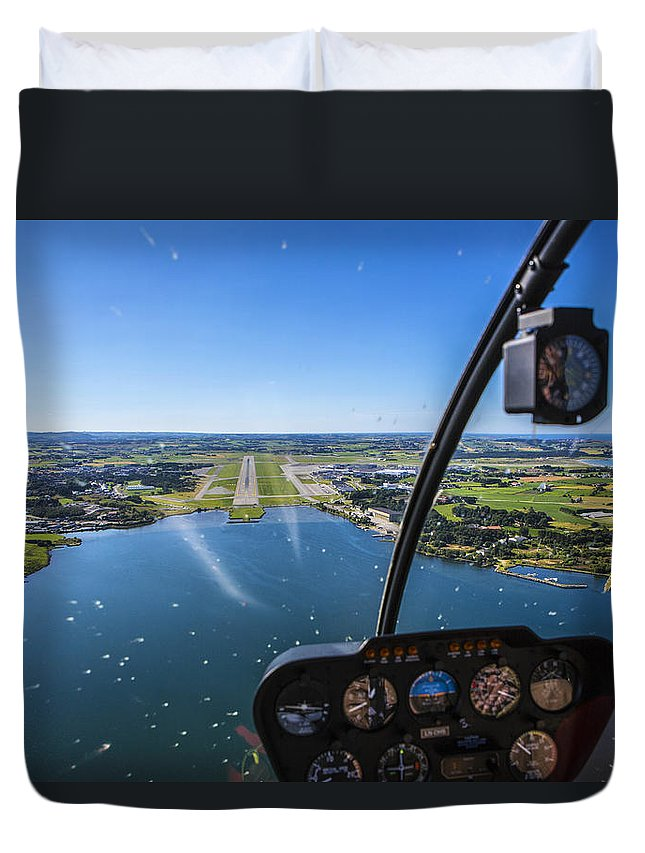 Water's Edge Duvet Cover featuring the photograph Sola And Sola Airport, Aerial Shot by Sindre Ellingsen