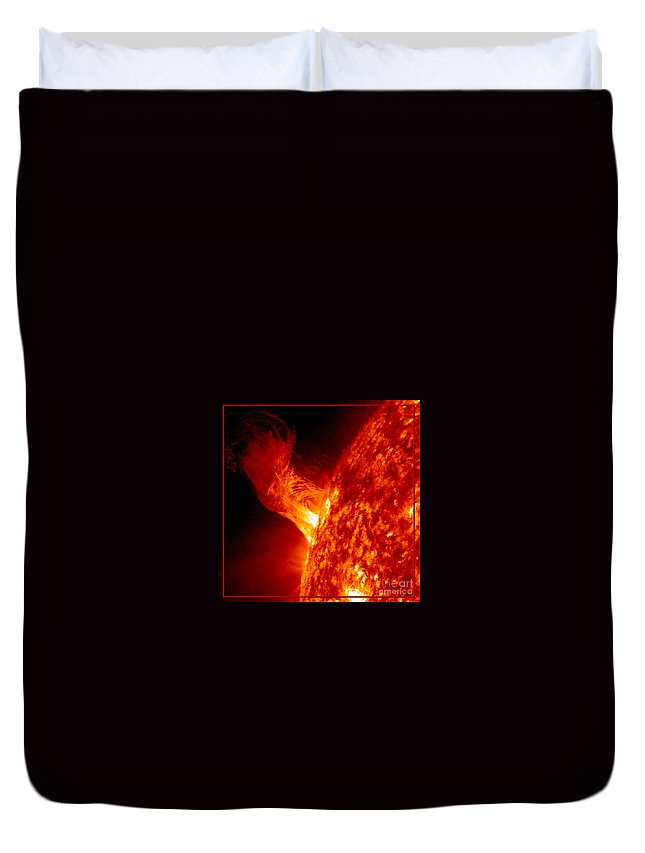 Sun Duvet Cover featuring the photograph Solar Eruption by Rose Santuci-Sofranko