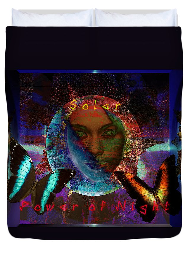 Light Duvet Cover featuring the digital art Solar Night by Joseph Mosley